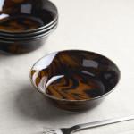 ウッドスタイル アメ色 15cmサラダボウル/軽量陶器