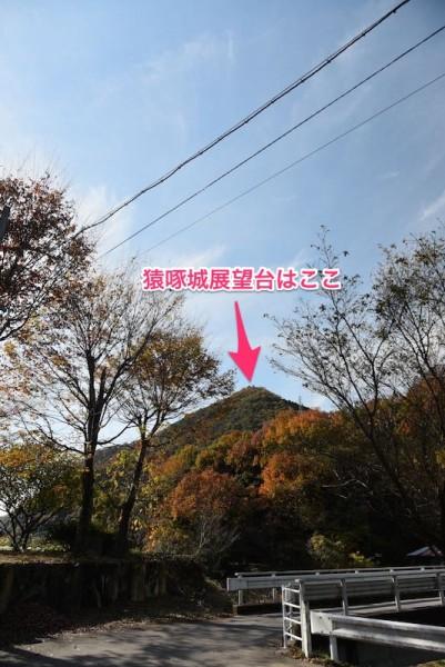 山頂に見える猿啄城展望台