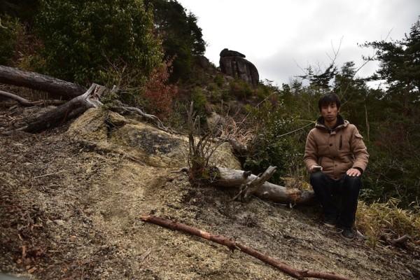 うさぎ岩で記念撮影