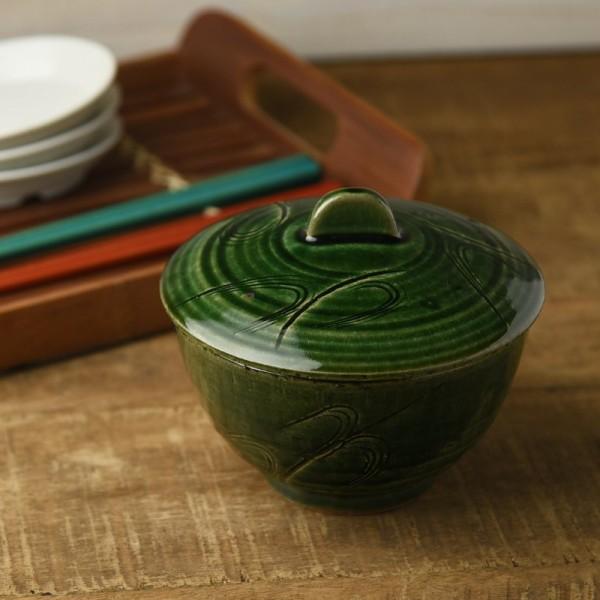 織部釉薬の手彫り蓋付き中鉢