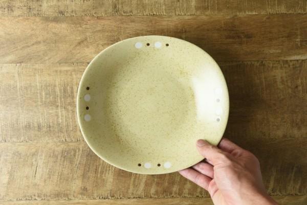 いろいろ模様22cm楕円カレー皿 黄瀬戸ドット