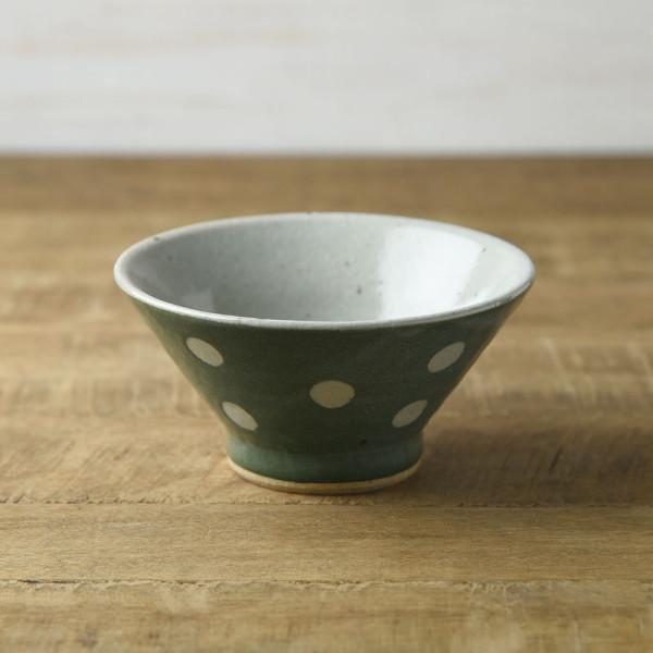 手しごと 13cm富士山型茶碗 みどり 水玉