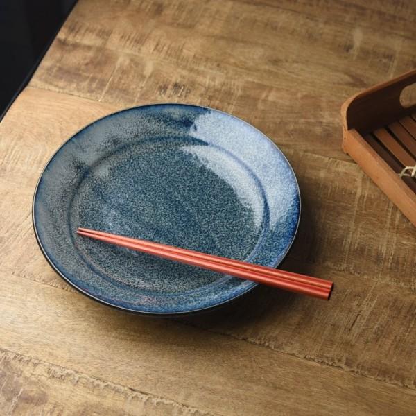 23cm青釉リム付き和皿