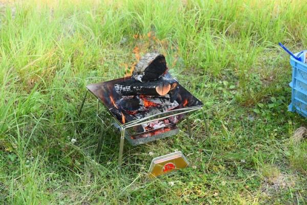 ファイヤー中のロゴス焚火台