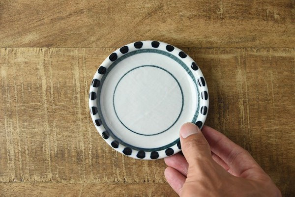布目ふち水玉 タタラづくりの10.7cm豆皿