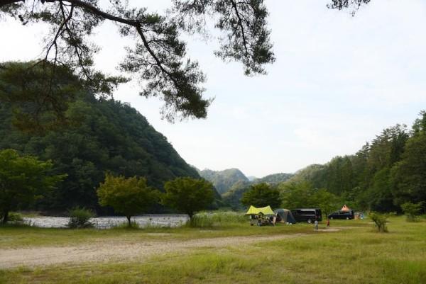 反対側から見た和知野川キャンプ場のサイト