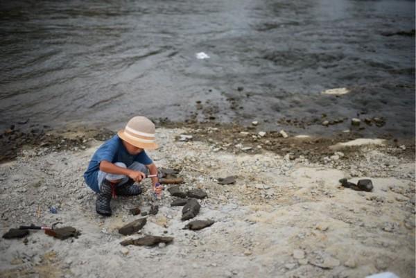 化石掘りにチャレンジ中の人