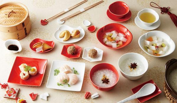 縁起の良い紅白の一人用の器 -mizuhiki、玉椿、あたり、kikko、oshidori-