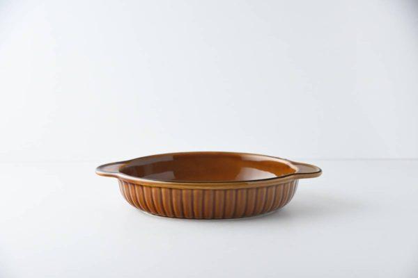 22.5cmオーバルグラタン皿 アメ色